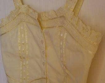 Vintage Yellow Cotton Summer Sweetheart Top Medium Size
