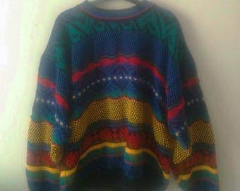 Oversized Retro Coloured Knit Jumper