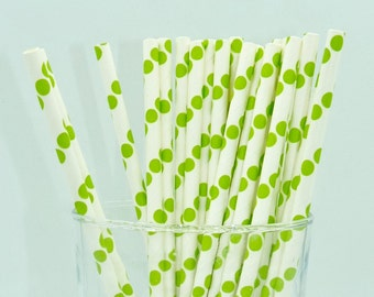 Pack of 25 green dots paper straws wedding party celebration birthday baby shower planner supplies