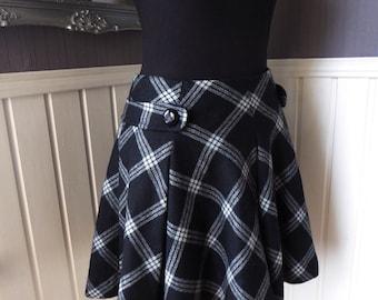 Full Circle Skirt, Gorgeous Wool Mix Plaid Circlular Skirt, Monochrome