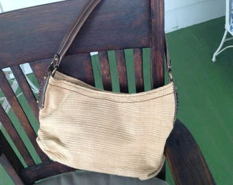 REDUCED! Fossil beige woven and brown leather hobo  summer spring handbag