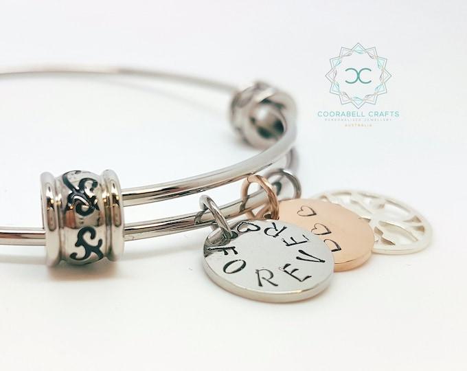 Personalised Bangle Bracelet Silver Charm Bangle Name Jewellery Tree of Life Charm Name Jewellery Personalised Bangle Disk Charms Gift