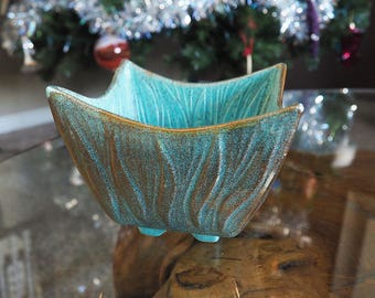 Vintage NOR-SO Hand Painted 22k Gold Camark Pottery Small Planter or Candy Dish Robins Egg Blue