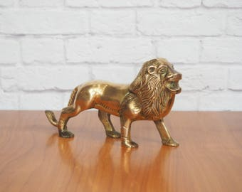Brass Lion Figurine | Hollywood Regency Home Decor