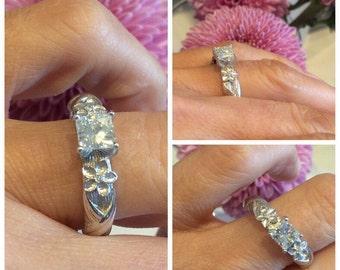 Square Brilliant Moissanite Engagement Ring 14k White gold natural diamond accents 5mm Center Flower Leaf Design Ring Pristine Custom Rings