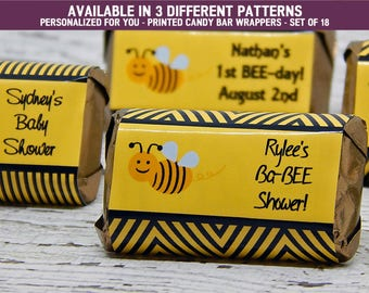 Bumble Bee Decorations - Bumble Bee Party Supplies - Black Bumble Bees - Bumble Bee Party Favors - Candy Bar Wrappers - Set of 18