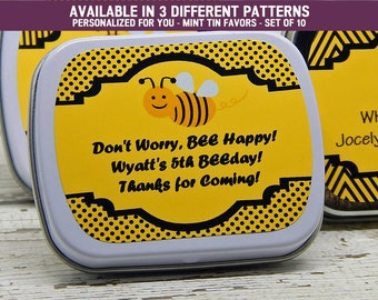 Bumble Bee Decorations - Bumble Bee Party Supplies - Black Bumble Bees - Bumble Bee Party Favors - Mint Tins Favors - Set of 10