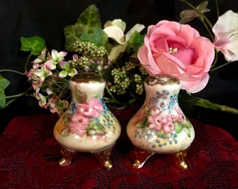 Antique porcelain shakers hand painted floral salt and pepper