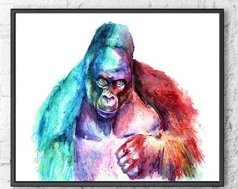 Watercolor poster gorilla painting wall hanging animal art, jungle nursery animal decor, watercolor print - R44