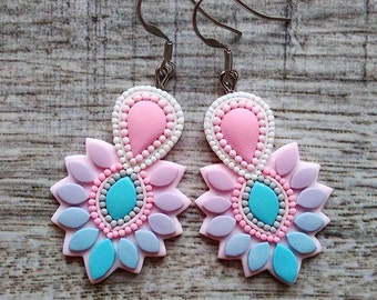 Wedding Earrings, Wedding Jewelry, Bright Earrings, Pastel Earrings, Baby Blue and Pink Earrings, Wedding Party Outfit, Birdesmaids Earrings