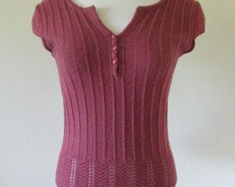 vintage vest,capped sleeve vest,size 12 vest, maroon vest, handknit vest with tiny sleeve, kiwi wool vest, slimline knit vest, size 12 vest.