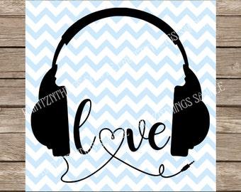 Headphones, Music svg Headphones svg, headphone svg, Headphones with heart svg, heart svg, svg, svg files, music heart, heart, love svg love