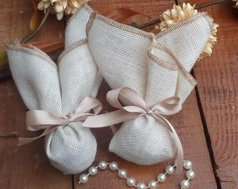 Burlap Favor Bag - Ivory Favour Bag - Rustic Wedding Favor - Country Wedding Favors - Western Wedding Favor Bag - Set of 20