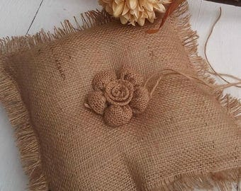 Burlap Ring Pillow - Burlap Ring Bearer Pillow - Ring Bearer Pillow - Burlap Wedding Pillow - Rustic Wedding Ring Pillow - Rustic Wedding
