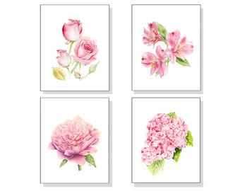 Flower Art Flower Painting Flower Print Flower Watercolor Pink Floral Art Floral Painting Floral Wall Art Rose Hydrangea Lily Peony Set of 4