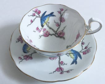 "Royal Albert Crown China ""Blossom"" Tea Cup and Saucer Teacup Set"
