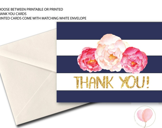 Purple Navy Watercolor Gold Floral Thank You Card // Folded Thank You // Printed // CLEARWATER COLLECTION