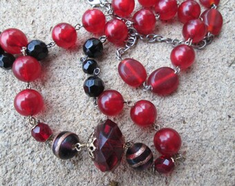 Red and Black Long Crystal Necklace, Wire Wrapped Beaded Scarlet Wine