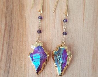 Gold Plated Titanium Quartz Arrowhead Charm Long Dangle Earrings / Arrow Earrings / Purple Arrowhead Earrings / Boho Luxe / Stone Earrings