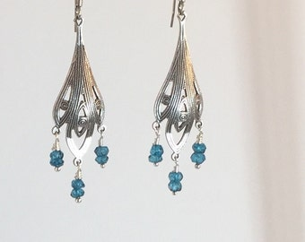 Antique Silver Topaz Drops