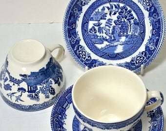 2 Blue Willow China Tea Cups, Blue and White China Ceramic Teacups, Tea for Two, Ceramics and Pottery Made in England