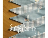 Gingerberry Shabby Chic Bunting - Laura Ashley duck egg gingham & bumblebuzz bees (Art Gallery Fabrics)