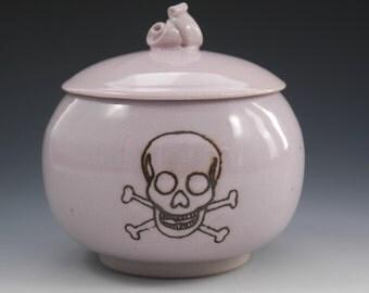 Pottery Storage Jar, Jolly Roger Jar, Stoneware Pink Jar, Skull and Crossbones, Ceramic Jar, Pink Pirate Jar, Wheel Thrown Sugar Keep