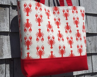 Red lobster tote: small tote bag with magnetic snap