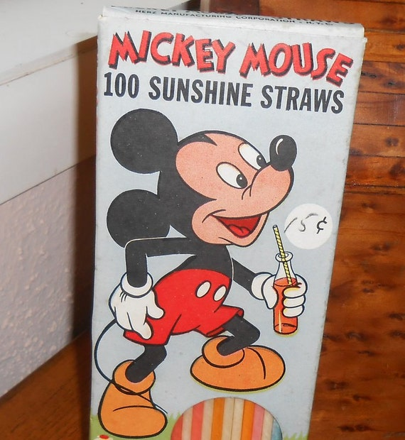1950's Mickey Mouse Box of Straws