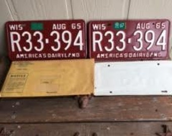 License Plate Set - 1965 Never Used Wisconsin Passenger Car License Plate set- with Papers