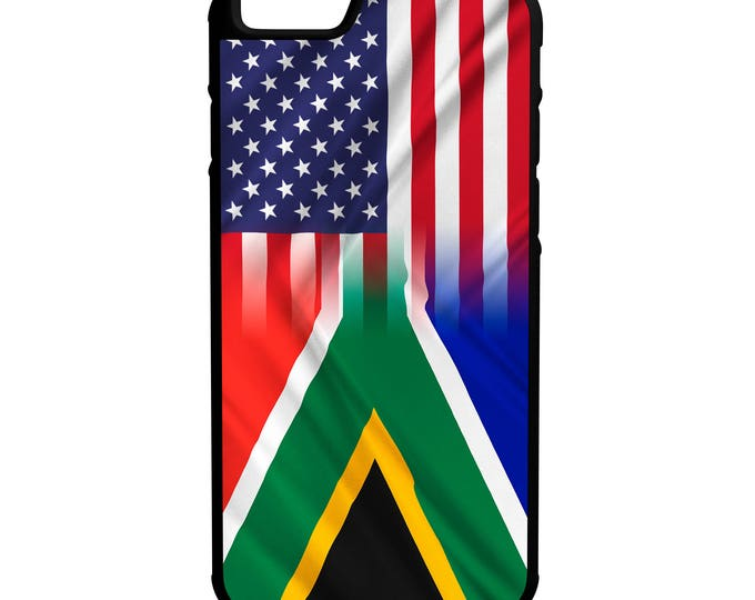 South Africa American Flag iPhone, Galaxy, Note, LG Hybrid Rubber Protective Case