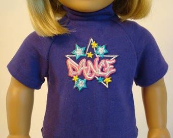 Dance T Shirt for American Girl Doll and 18-inch Dolls – Purple Knit Dance Star Top
