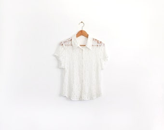 White vintage lace button up short sleeve shirt, delicate and romantic