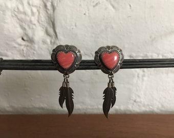 Vintage Native American Sterling Silver Danggle Earrings