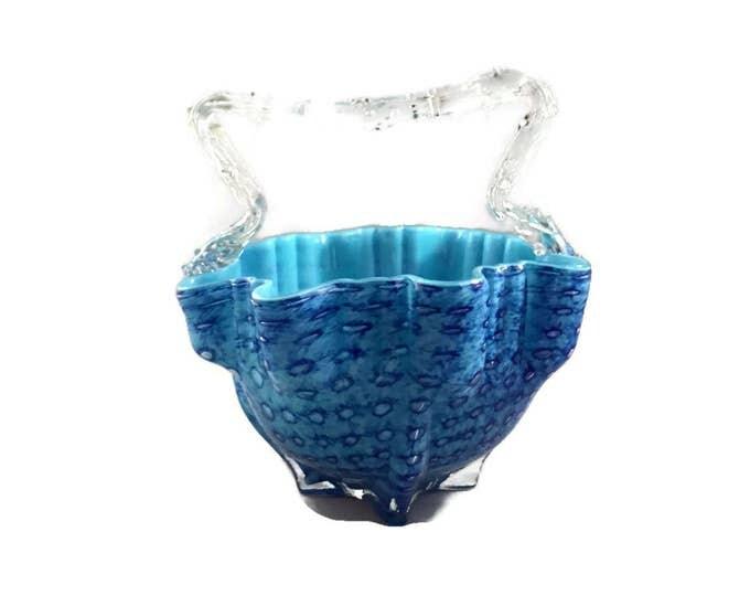 Antique Bohemian Art Glass Thorn Handled Blue Basket | Hand Blown Glass Basket | Victorian Decor | Vintage Home Decor