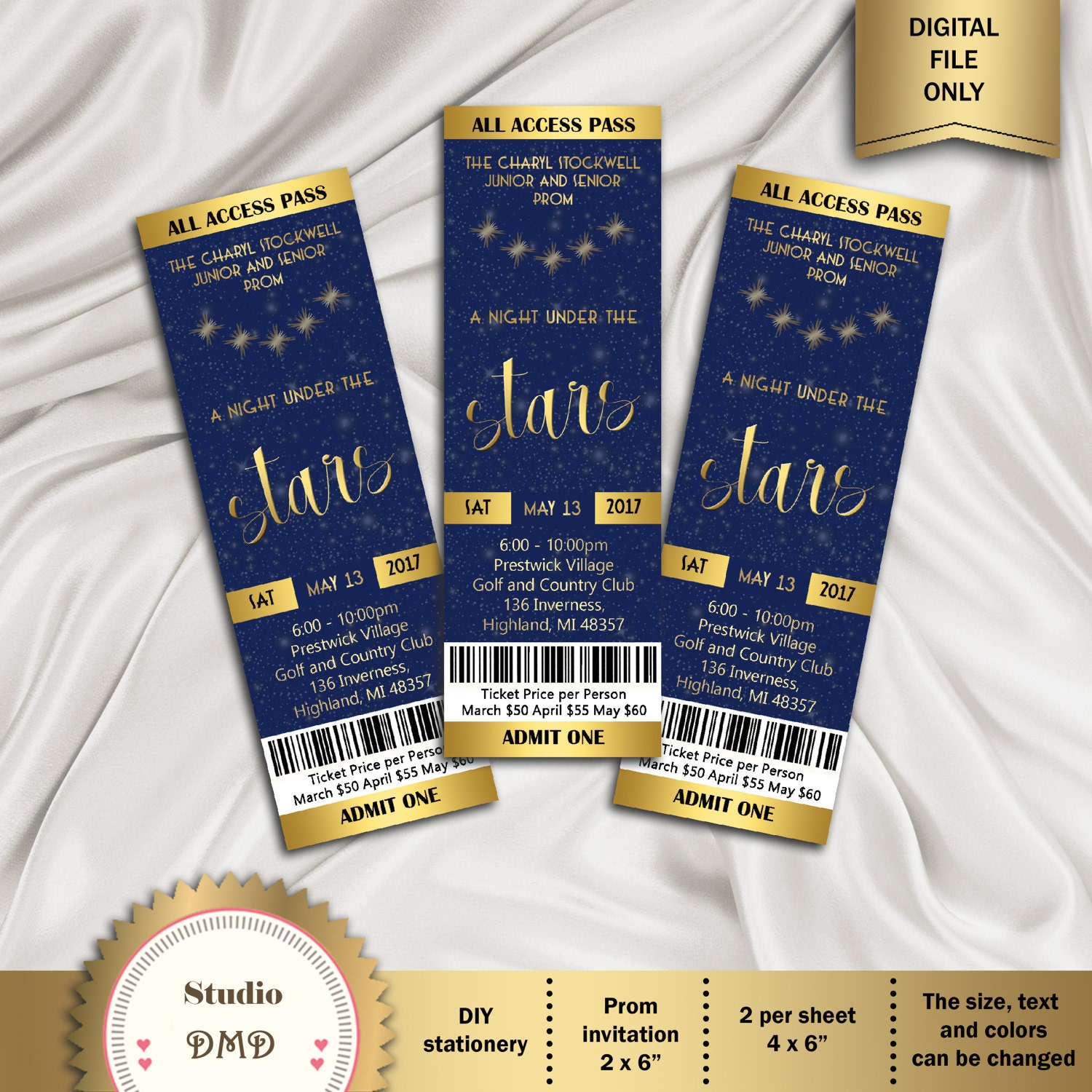 Printable Prom Ticket Invitation A Night under the stars – Prom Ticket Template