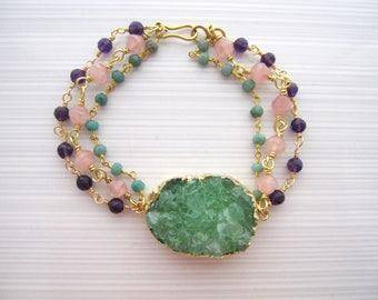 Green Druzy Bracelet, Triple Strands, Gemstone Bracelet, Deep Purple Amethyst, Cherry Quartz, Gemstone Chain, Chrysoprase