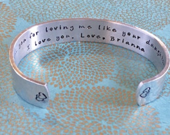 Gift for Stepmother | Mother of the groom | Thank you for loving me like your daughter. I love you|Hand Stamped Bracelet by MadeByMishka.com