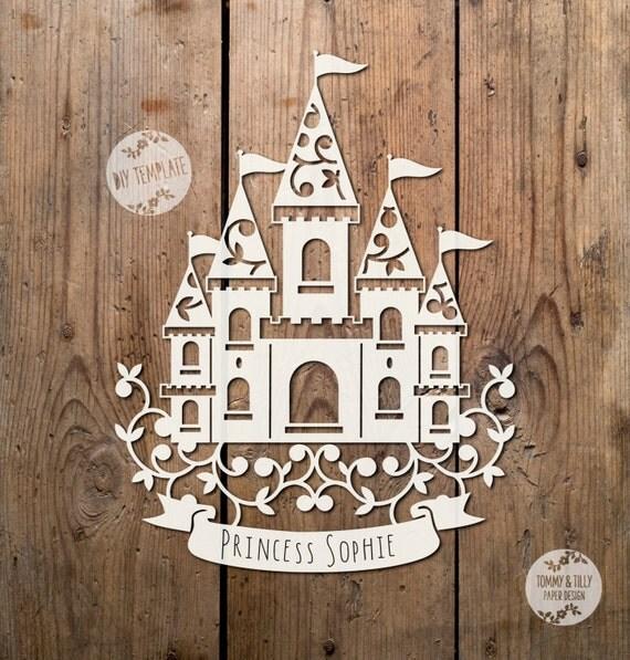 cut out castle template - princess castle svg pdf design papercutting vinyl template