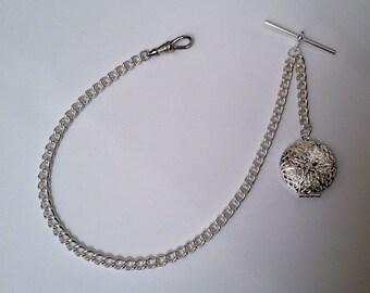 Silver Plated Albert Pocket Watch Chain + Locket.