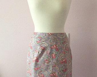 Floral Cotton Knee Length Pencil Skirt | Floral Purple Pencil Skirt | Knee Length Pastel Straight Skirt | S M
