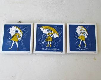 Vintage Tile Trivet Coaster Morton's Salt - Mortons Promotional Tile - Salt - 1968 - 1914 - 1956 -