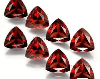 25 Pieces Lot AAA Quality Garnet Trillion Shape Faceted Cut Loose Gemstone