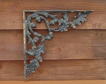 Cast Iron Oak Leaf Bracket, Architectural Salvage Iron, Decorative Oak and Acorn Corner Bracket, Architectural Fragment