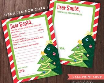2017 Santa Letter template, Santa letter printable, Christmas printable, Letter to Santa, Christmas wish list, milk cookies, Santa printable