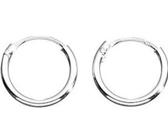 Small Silver Hoop Earrings, Approx 6 mm, Rare small 2 pairs (4) supplied, Sterling Silver 925, Perfect Gift