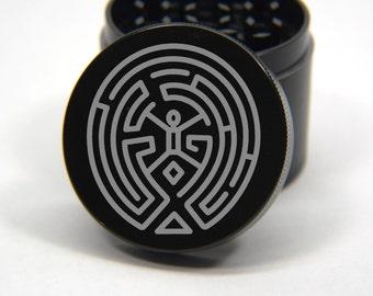 Laser Engraved Herb Grinder - HBO Westworld Maze Design 4 Piece Grinder #151