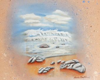 Seascape, original acrylic painting on Box canvas