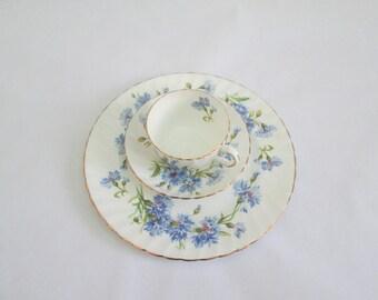 Adderley Fine Bone China Cornflower Tea/Coffee Trio  England/Bachelor Buttons #17009