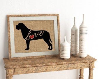 Mastiff Love - Wall Art Print on Burlap - Dog Memorial Pet Loss Gift - Rustic Farmhouse Home Decor - More Breeds / Add Name (101s)